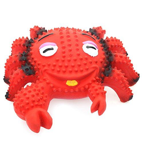 Chiwava-119-cm-Squeak-jouet-pour-chien-en-latex-Crabe-Laugh-Face-rouge-chiot-Jeu-interactif