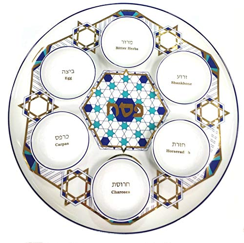 Handmade Passover Seder Plate with Dishes and Gold Star, Made in Israel