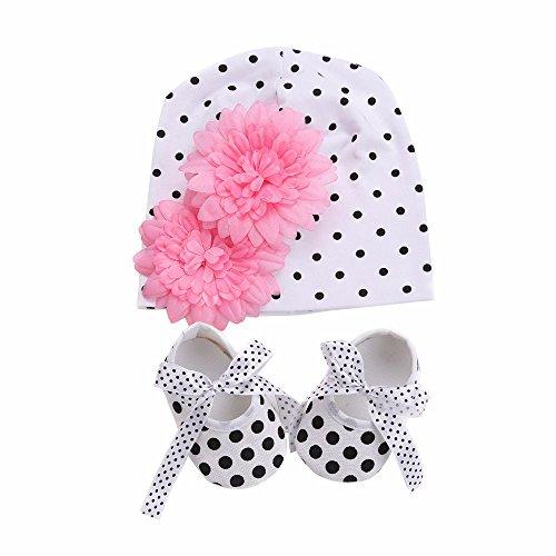 Walid-Flower Baby Hat Dot Shoes Girls 2pcs Set ( SIZE.9 M ) (Infant Dallas Cowboys Halloween Costume)