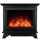 AKDY 27'' Modern Freestanding Portable 2 Setting Tempered Glass 5200 BTU 1500W Adjustable Electric Heater Fireplace Stove