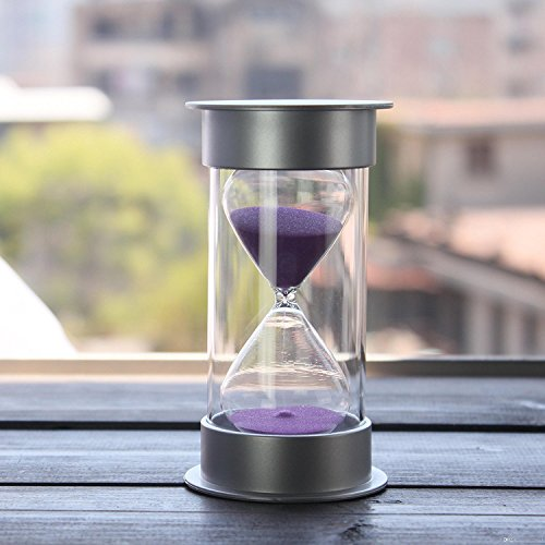 60 Minutes Hourglass,Siveit Modern Sand Timer with Purple Sand for Mantel Office Desk Coffee Table Book Shelf Curio Cabinet or End Table Christmas Birthday Valentine's Present(60Min - Sands Silver Hours
