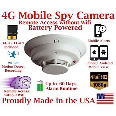 Image of AES ThirdEye 4G LTE Cellular Mobile 1080P HD Commercial Grade Smoke Detector Spy Camera // 60 Day Battery Powered Wireless Remote Live stream Spy Gadget (Remote View, Remote Playback, Mobile Alerts) Hidden Cameras
