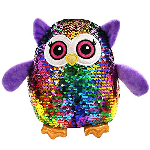 Athoinsu Flip Sequin Stuffed Owl Plush Toy with Reversible Magic Sparkle Sequins Interactive Gift for Kids Friends, 8'' ()
