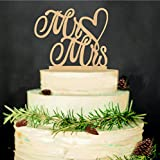 Mr and Mrs Cake Toppers, KOOTIPS Wooden Wedding Cake Topper Party Cake Decoration (Mr and mrs cake topper C)