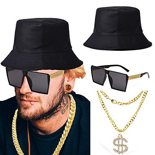 ZeroShop 80s/90s Hip Hop Costume Kit - Cotton Bucket Hat,Gold Chain Beads,Oversized Rectangular Hip Hop Nerdy Lens Sunglasses (OneSize, Black1) -