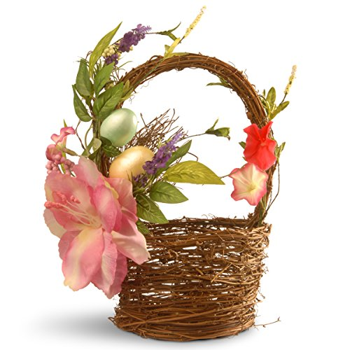 Basket Tulip - National Tree 12 Inch Weaved Wood Basket with Tulips and Pastel Easter Eggs (RAE-AC03013-1)