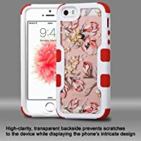 Asmyna Cell Phone Case for Apple iPhone SE - Ivory White Frame/ Painted Flowers