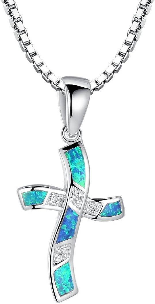 Arco Iris Jewelry Colgante de collar de la mujer de plata de ley con azul y verde ópalo de fuego y circonio cúbico, cruz rizado, cadena de veneciana, 46cm