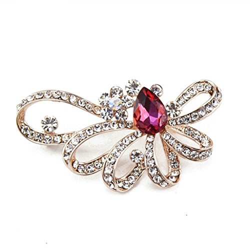 - AMDXD Jewelry Gold Plated Brooch Vintage Leaf Flower Drop White Red Brooches and Pins for Women
