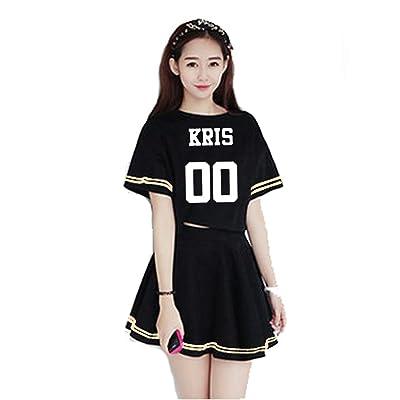 Kpop EXO Korean Skirt SM T-Shirt Tee Girl Dress Sehun Luhan Tao Suho