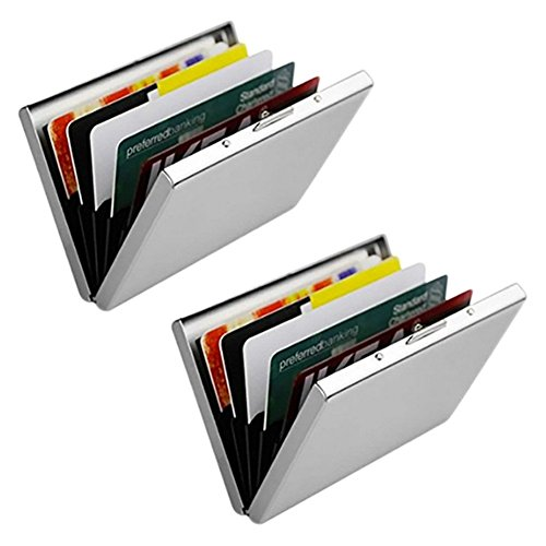 Stainless Steel Wallet Credit Card Holder (Deluxe 2 Pack) | Bonus Carrying Pouches & RFID Blocking Lab Report | Metal Wallet Credit Card Protector for Men and Women