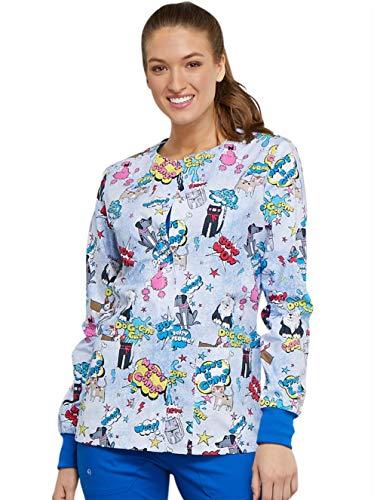 (Cherokee Fashion Prints Women's Snap Front Dog Print Scrub Jacket XXX-Large Print)