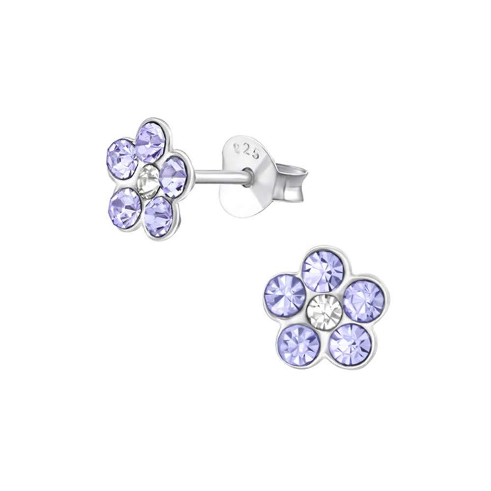 12 Girls Flower Crystal Ear Studs 925 Sterling Silver Nb Of Crystal Stones