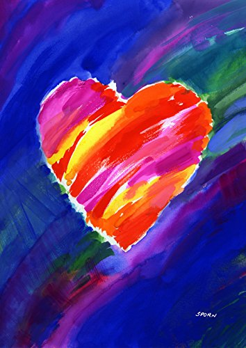 Toland Home Garden Heart In Blue-Decorative Colorful Watercolor Valentine Garden