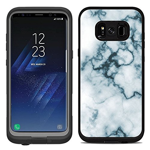 Protective Designer Vinyl Skin Decals/Stickers for Lifeproof Fre Samsung Galaxy S8 Plus Case -Abstract White Marble Slice Gemstone Geode Druse Design - Only Skins and NOT Case - by [TeleSkins] ()