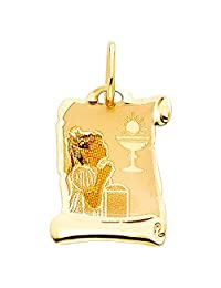 FB Jewels 14K Yellow Gold First Communion Picture Girl Pendant 17mm X 12mm