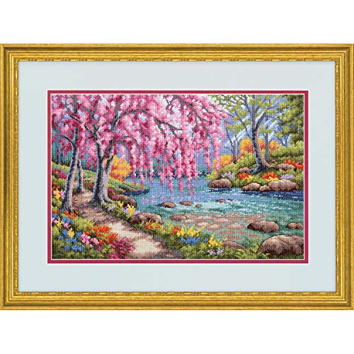 - Dimensions 70-35374 Cherry Blossom Creek Gold Collection Cross Stitch Kit, 16 Count Light Blue Aida Cloth, 10