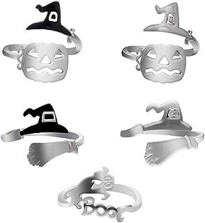Fenical Zucca Strega Cappelli Fantasma Anello Lega Regolabile Anello per Trick or Treat Halloween Party Cosplay 5PCS