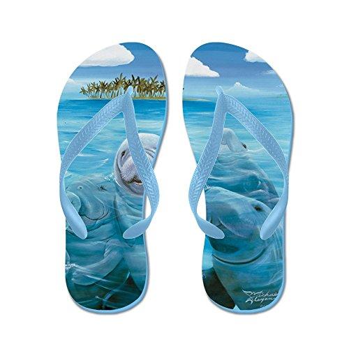 Cafepress Manatee Party - Flip Flops, Grappige String Sandalen, Strand Sandalen Caribbean Blue