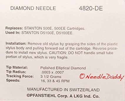 ELLIPTICAL TURNTABLE NEEDLE STYLUS FOR STANTON 500 500E 500.v3 D5100E 820-DE