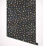 Kraska Gold Spots on Black Watercolor Wallpaper Self Adhesive Premium Quality Multi Purpose Peel & Stick Wallpaper - Ideal Decor for Home, Nursery, Kitchen, Bathroom, Office, Fridge - 24'' x 24''