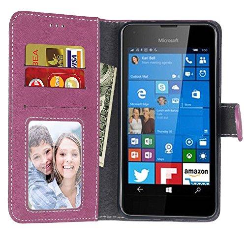 YHUISEN Microsoft Lumia 550 Estuche, estilo retro de color sólido Premium PU cuero Wallet caso Flip Folio cubierta protectora de la caja con ranura para tarjeta / soporte para Microsoft Nokia Lumia 55 Rose