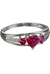 Three Heart Shape .018 Diamonds cttw in Silver Created Ruby Ring, Size 8