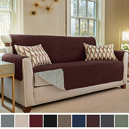 Gorilla Grip Original Slip Resistant Oversize Sofa Slipcover Protector, Seat Width Up to 78 Inch Suede-Like, Patent Pending, 2 Inch Straps, Hook, Couch Cover for Kids, Pets, Oversized Sofa, Coffee (Sofa Cover 90)