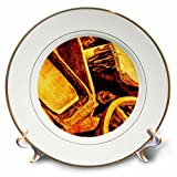 3dRose Alexis Photography - Objects - Golden age technologies - Wooden washtubs and wheels. Stylized photo - 8 inch Porcelain Plate (cp_270869_1)