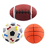 Dogloveit Rubber Sport Ball Squeaky Toy for Puppy Dog Cat - 3-Pack (Soccer - Basketball - Football)