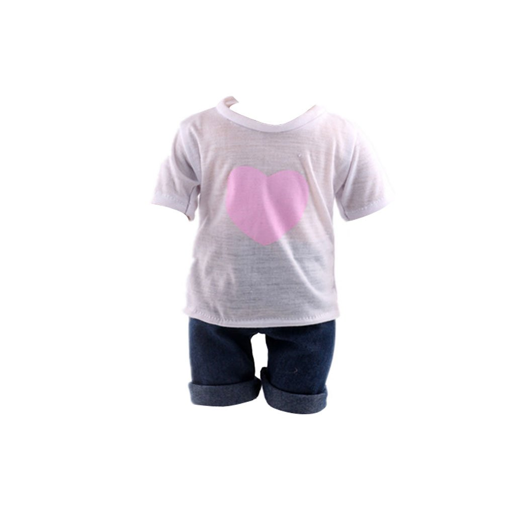 Casual White T-shirt & Jeans Clothes Set For 18 Inch American Girl Doll Generic