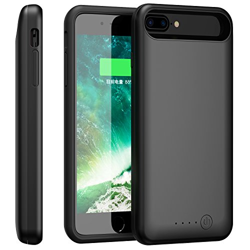 iPhone 7 Plus Battery Case, Foxin 8000mAh Extended Battery Charger Case Rechargeable Power Bank Battery Charging Case for iPhone 7 Plus/6 Plus/6S Plus(5.5 inch) (Black)