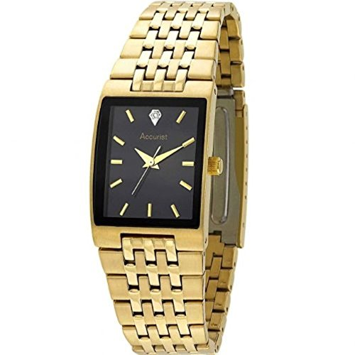 Accurist Men's Quartz Watch Black Dial Gold Stainless Steel Bracelet MB921BX