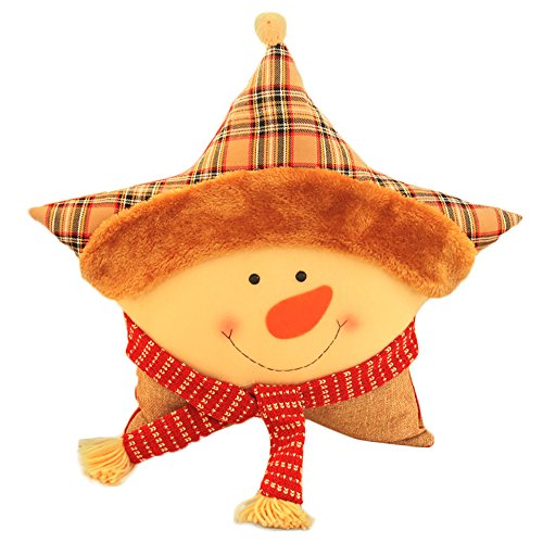 Kaimao Christmas Head Pillow Cushion Pillow Star Shaped Plush Cushion for Sofa Bed Home Decor(Santa Claus)