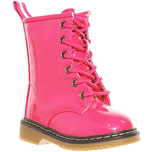 (shoewhatever Patent Lace up Ankle Rain Boots for Infants (8, pinkKA) [Apparel])