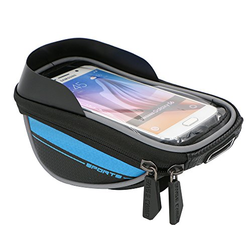 5.5'' Waterproof Touch Screen Dual Zipper 2.5L Capacity Mountain Bike Road Bicycle Cycling Front Frame Bag Tube Pannier Saddle Bag for iPhone 6 Plus, iPhone 6, Samsung Galaxy S5, Note 4 (Blue)