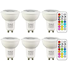 GU10 LED Light Bulbs, Dimmable Color Changing Spotlight with Remote, RGB & Daylight White, 45 Degree Beam Angle and Memory Function, Yangcsl ( 6 Pack )