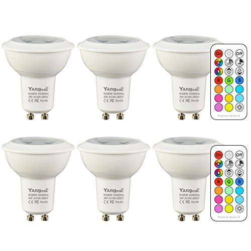 Yangcsl GU10 LED Bulbs, Color Changing Spot Light Bulb with Remote, RGB + Daylight White, 45° Beam Angle and Memory, 3W Mood Ambiance Lighting (6 -