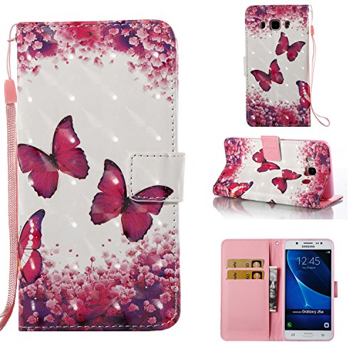 StarCity Case for Galaxy J5 (2016), 3D PU Leather Folio Flip Cover Wallet Case With Credit Cards Pockets For Samsung Galaxy J5 (2016) J510M/DS (Butterfly Rose)