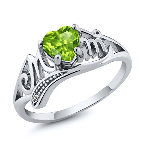 Gem Stone King 925 Sterling Silver Mothers Day Green Peridot and White Diamond Mom MOM Ring 0.52 Ct Heart Shape, Available in size 5, 6, 7, 8, 9