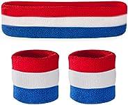 Suddora Striped Sweatband Set - (1 Headband and 2 Wristbands) Cotton for Sports & M