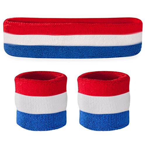 Suddora Striped Sweatband Set - (1 Headband and 2 Wristbands) Cotton for Sports & More. (Red White and Blue)