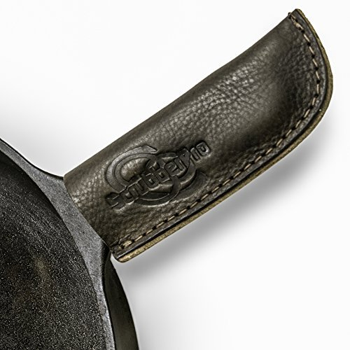 ScrubberPro leather cast iron hot handle cover - 5x2 Inch, handmade in the USA - holder slides on/off easily - use for Lodge cookware like skillet, griddle, pot, grill, fry or baking pan