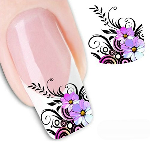 Purple Flowers Sticker - LEECO 5 PCS 3D Self-adhesive Beauty Nail Art Water Transfer Decal Sticker Sexy Lipstick Series Pattern Nail Art Sticker Decorations for Girls,Purple Flowers XF1554