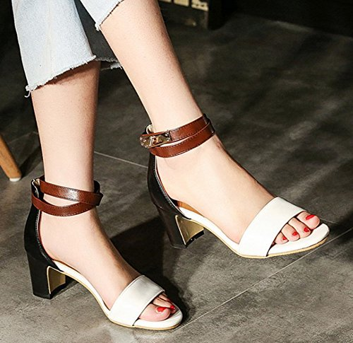 dcf7dcc09e84f6 ... Aisun Womens Casual Color-Contrasted Buckled Dressy Open Toe Block Mid  Heel Ankle Strap Sandals