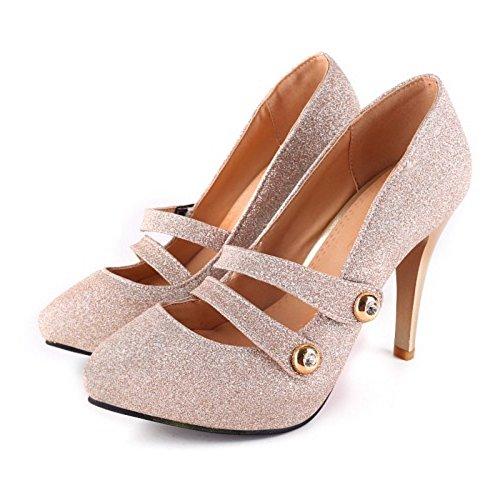 Cerrado Mujer COOLCEPT Zapatos de Moda Oro Zapatos Court Cordones Sin Tacon Bombas Aguja qOwYwdg