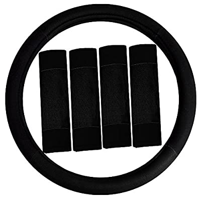 FH Group FH2033BLACK Steering Wheel Cover (Modernistic and Seat Belt Pads Combo Set Black): Automotive