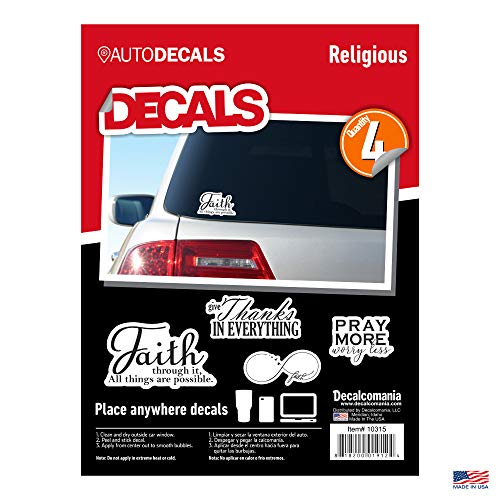 Religious Faith Vinyl Stickers - 4 Piece Decals Car Window Decals - Vinyl Car Sign Sticker - All Weather Proof - Pray More - Faith Infinity Love - Easy to Put On Car