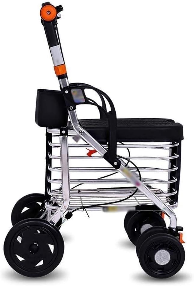ZWJ-Rollator - Andador de 4 ruedas plegable para caminar, asiento ajustable en altura y parte inferior de la cesta de la compra para personas mayores