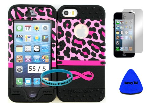 Hybrid Rocker Kool Case Cover for Iphone 5s Pink Leopard with Infinity Logo Hard Plastic Protective Cover Case on Black Silicone Gel. (Included: Wristband, Screen Protector, and Pry Tool Exclusively By Wirelessfones Tm)